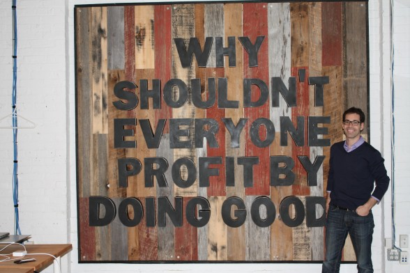 A daily reminder of Public's mantra hangs as giant art and is the first thing you see upon entering. Co-Founder and CEO, Phil Haid isn't that short!
