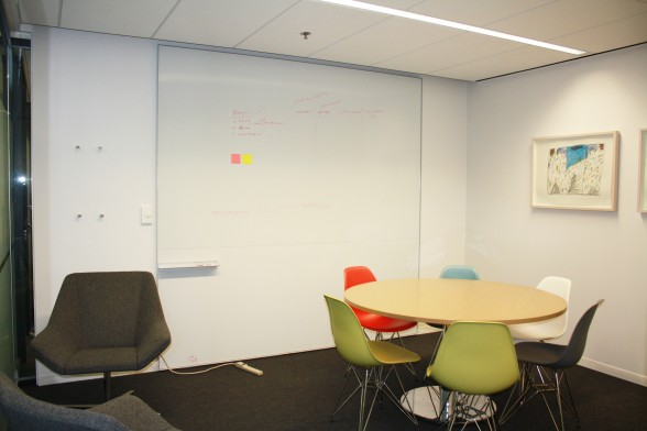 A meeting room for ideation and collaboration.
