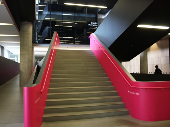 The iconic pink stairs from the Rotman School of Business, home to Rise Asset Development.