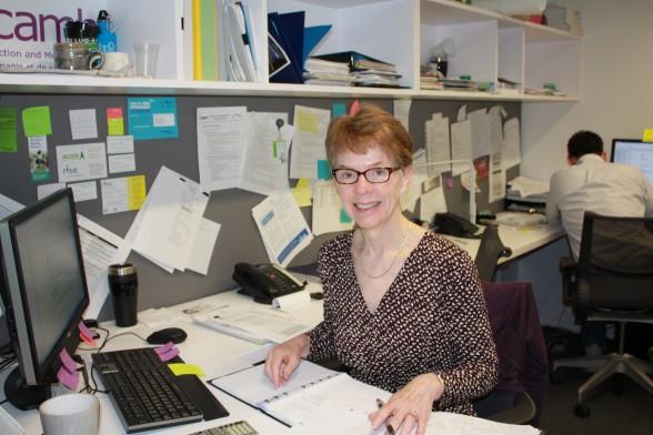 Sally Wilkie, Loan Coordinator in her shared office.